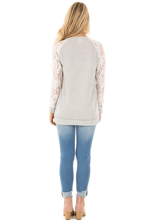 Grey French Terry Baseball Top with White Lace Sleeves back full body