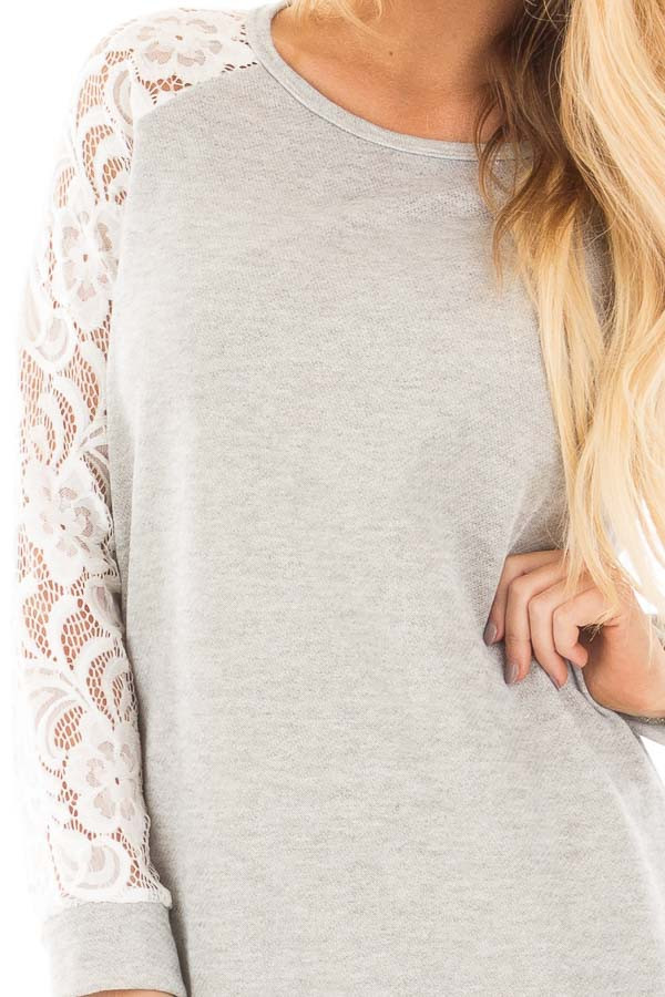Grey French Terry Baseball Top with White Lace Sleeves detail