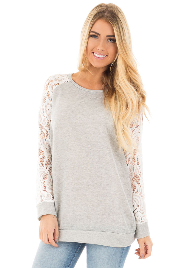 Grey French Terry Baseball Top with White Lace Sleeves front close up