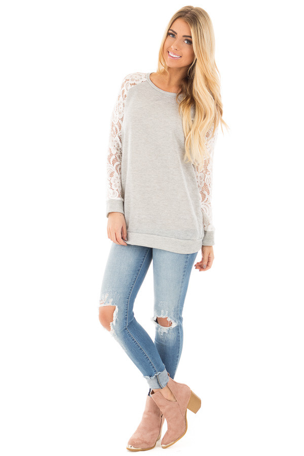 Grey French Terry Baseball Top with White Lace Sleeves front full body