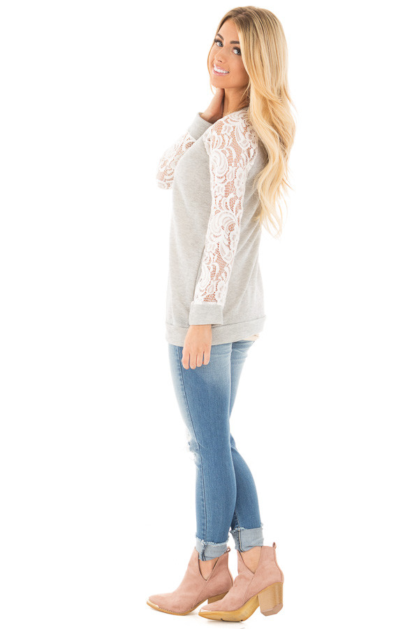 Grey French Terry Baseball Top with White Lace Sleeves side full body