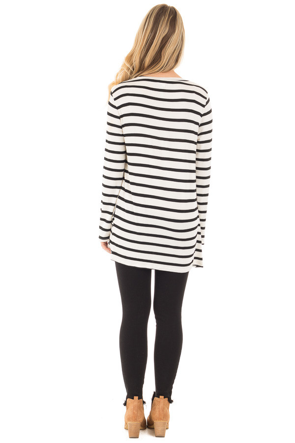 Cream and Black Striped Top with Front Twist Detail back full body