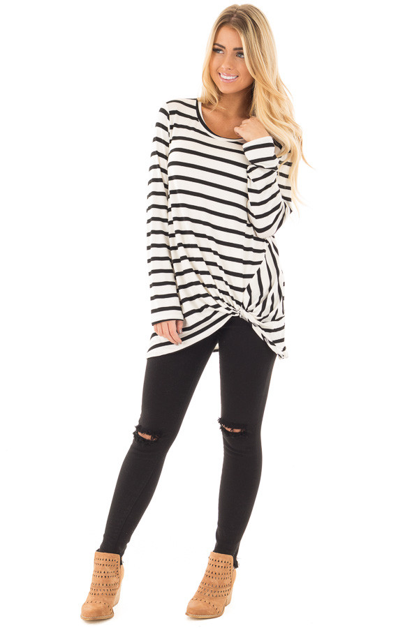 Cream and Black Striped Top with Front Twist Detail front full body