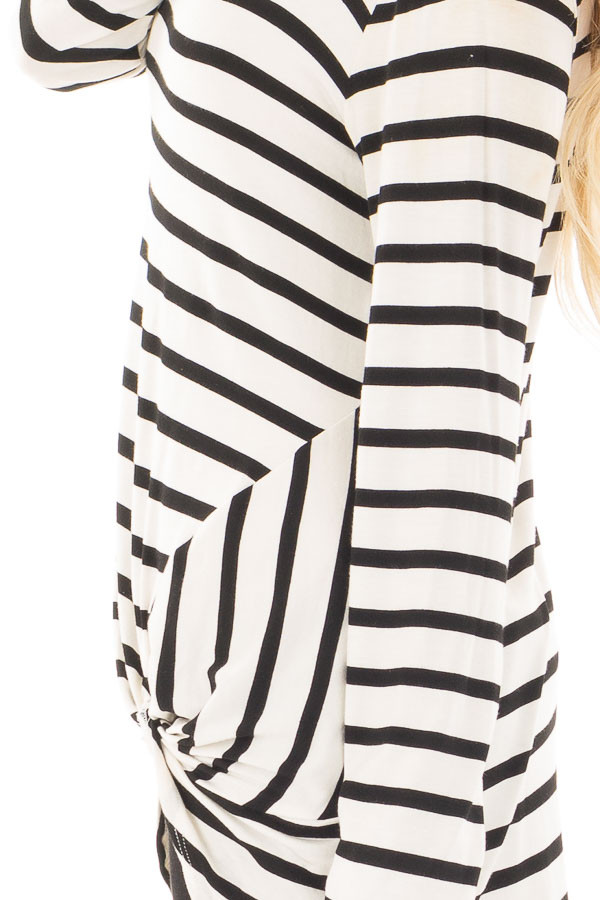 Cream and Black Striped Top with Front Twist Detail detail