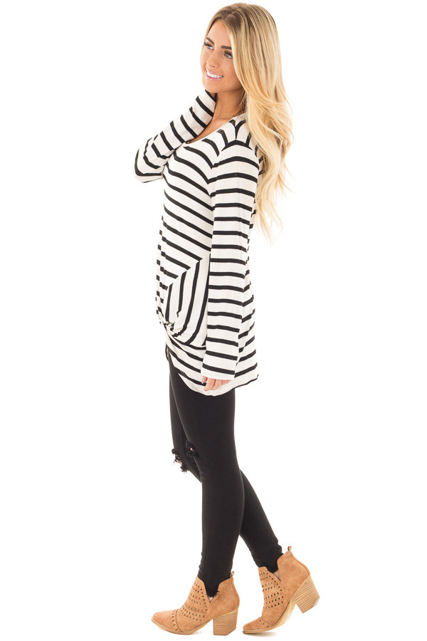 Cream and Black Striped Top with Front Twist Detail side full body