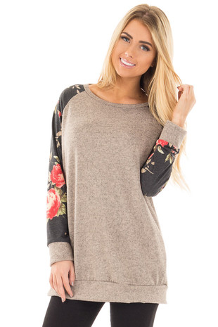 Two Tone Taupe Baseball Sweater with Floral Sleeves front close up