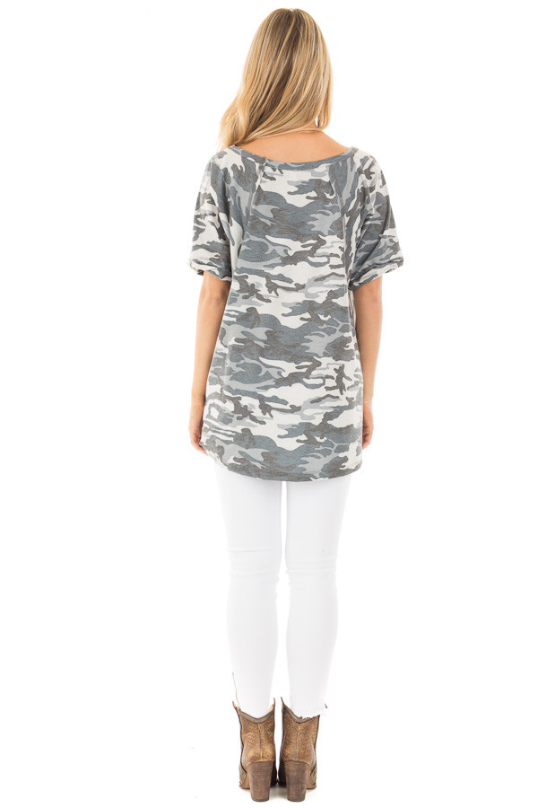 Grey and Blue Camo Tee with Cuffed Sleeves and Seam Details back full body