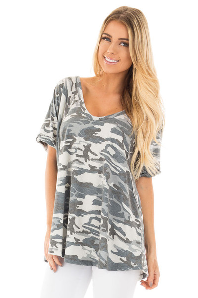 Grey and Blue Camo Tee with Cuffed Sleeves and Seam Details front close up