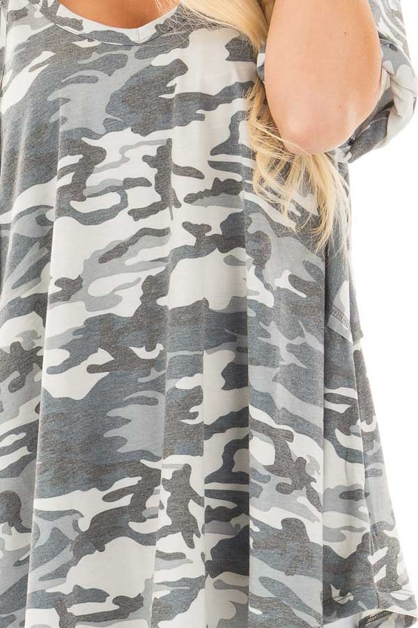 Grey and Blue Camo Tee with Cuffed Sleeves and Seam Details detail