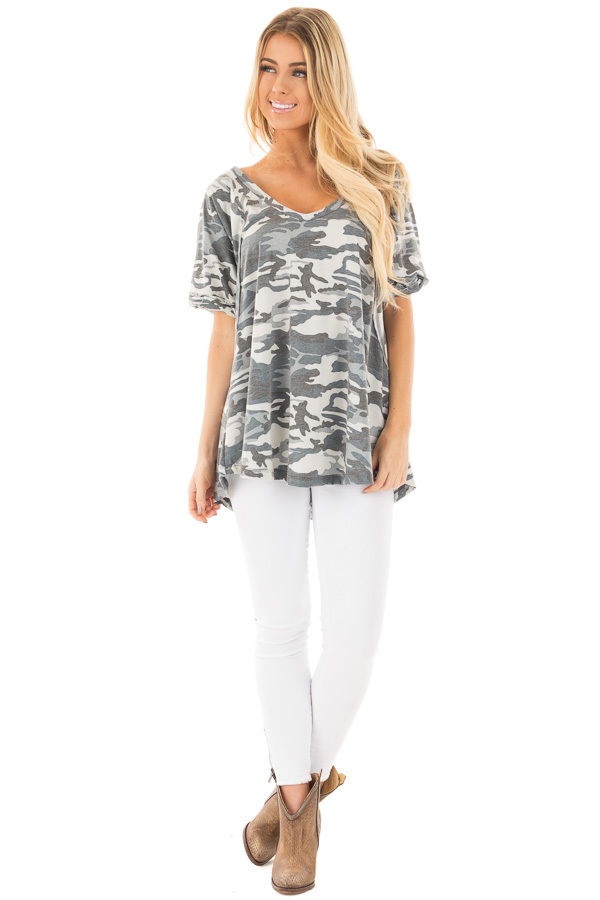 Grey and Blue Camo Tee with Cuffed Sleeves and Seam Details front full body
