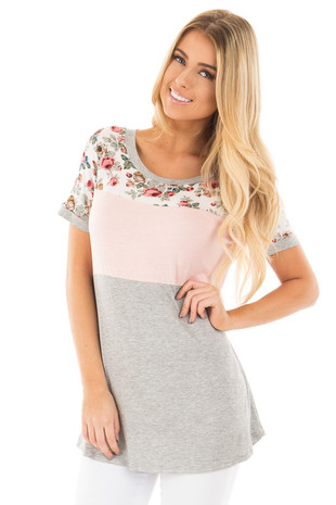 Peach and Floral Color Block Short Sleeve Top front close up