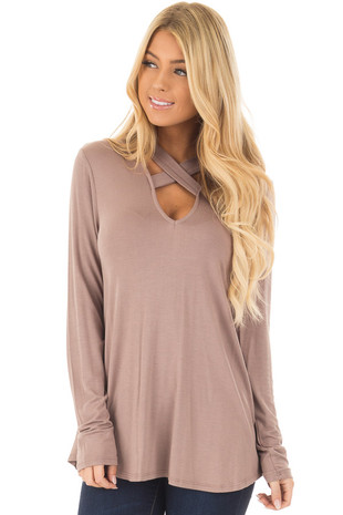 Taupe Key Hole Back with Criss Cross V Neck Top front close up