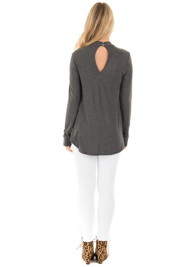 Charcoal Key Hole Back with Criss Cross V Neck Top back full body