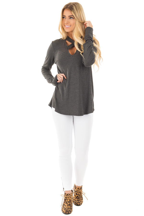 Charcoal Key Hole Back with Criss Cross V Neck Top front full body