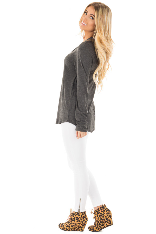 Charcoal Key Hole Back with Criss Cross V Neck Top side full body