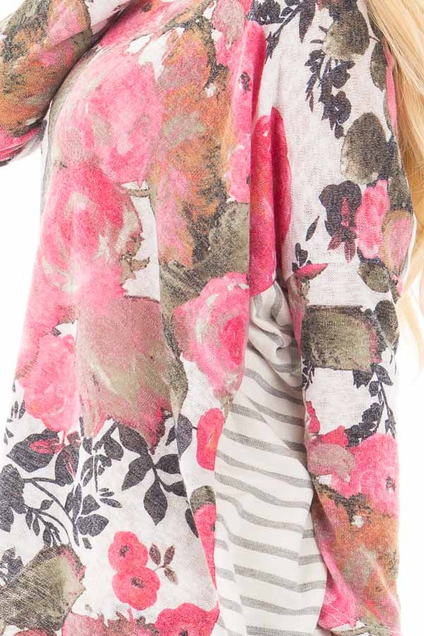 Ivory and Pink Floral Hi-Low Long Sleeve Top detail