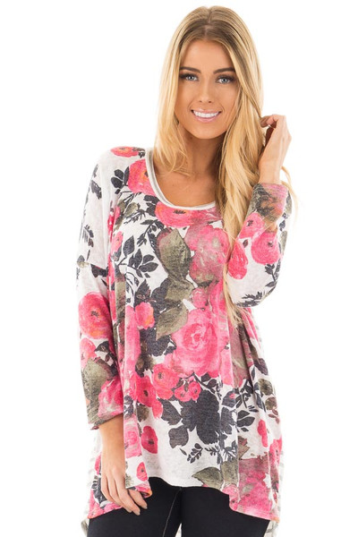 Ivory and Pink Floral Hi-Low Long Sleeve Top front close up