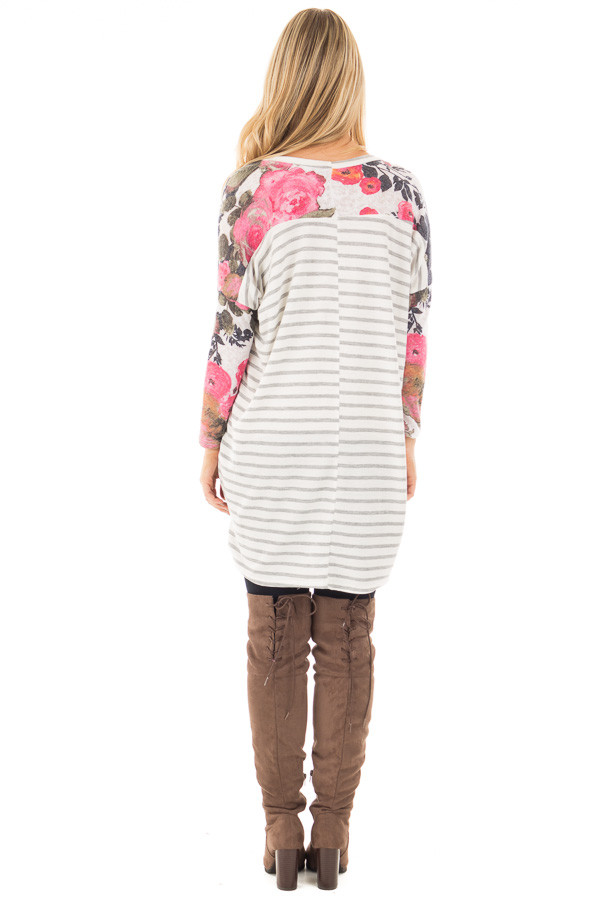 Ivory and Pink Floral Hi-Low Long Sleeve Top back full body