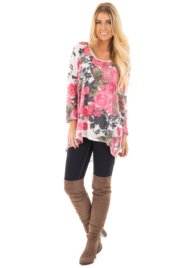 Ivory and Pink Floral Hi-Low Long Sleeve Top front full body