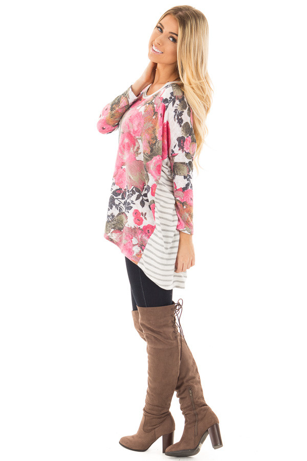 Ivory and Pink Floral Hi-Low Long Sleeve Top side full body