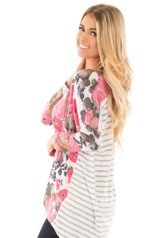 Ivory and Pink Floral Hi-Low Long Sleeve Top side close up