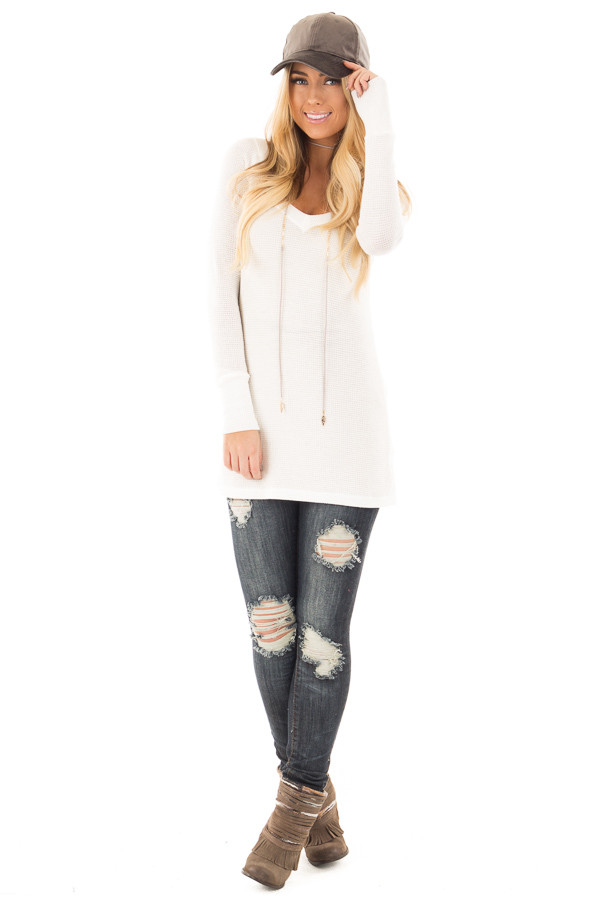 Ivory Thermal Knit Long Sleeve V Neck Top front full body