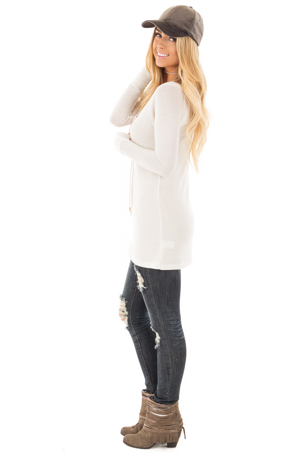 Ivory Thermal Knit Long Sleeve V Neck Top side full body