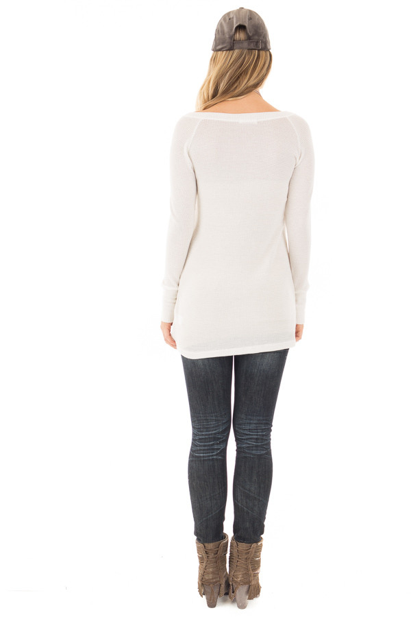 Ivory Thermal Knit Long Sleeve V Neck Top back full body