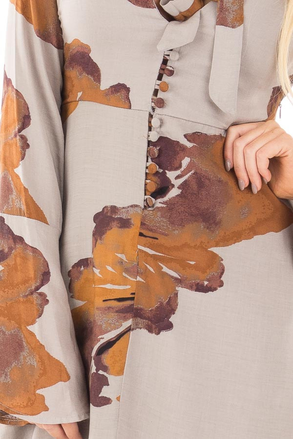 Grey and Rust Floral Dress with Neck Tie and Button Front detail