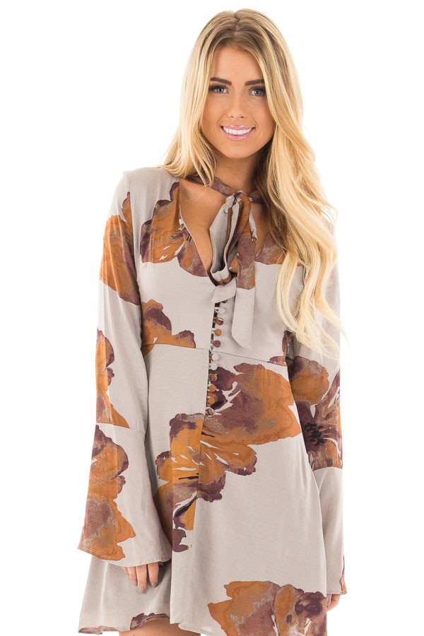 Grey and Rust Floral Dress with Neck Tie and Button Front front close up