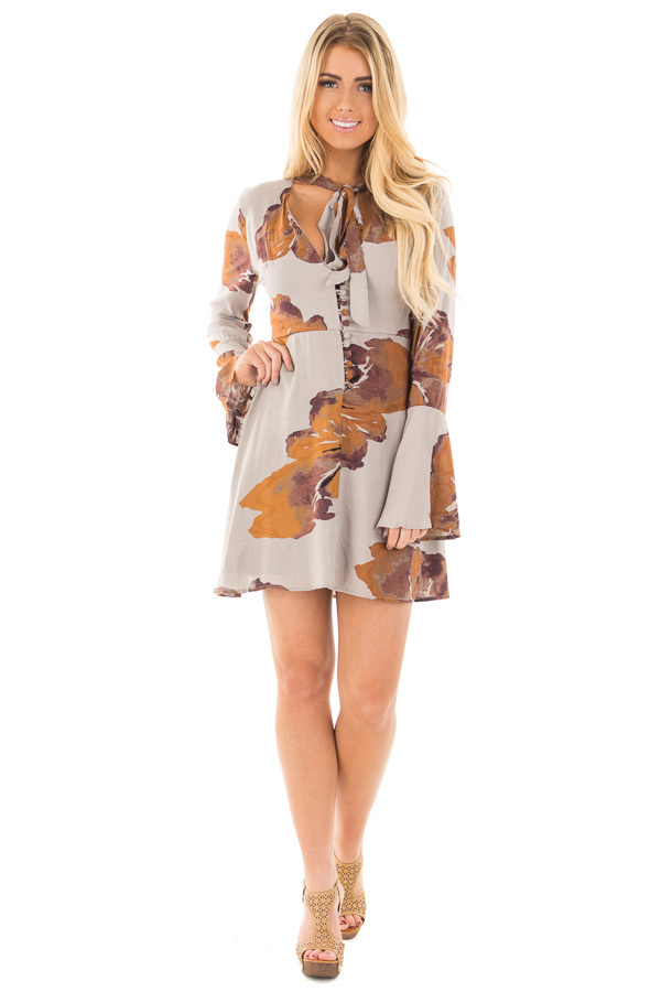 Grey and Rust Floral Dress with Neck Tie and Button Front front full body