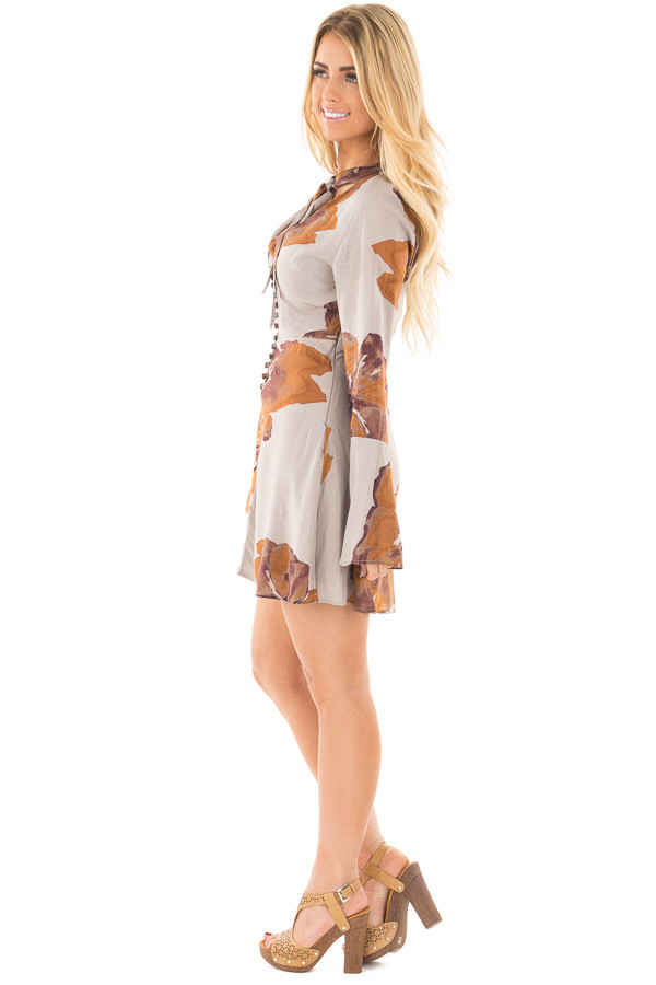 Grey and Rust Floral Dress with Neck Tie and Button Front side full body