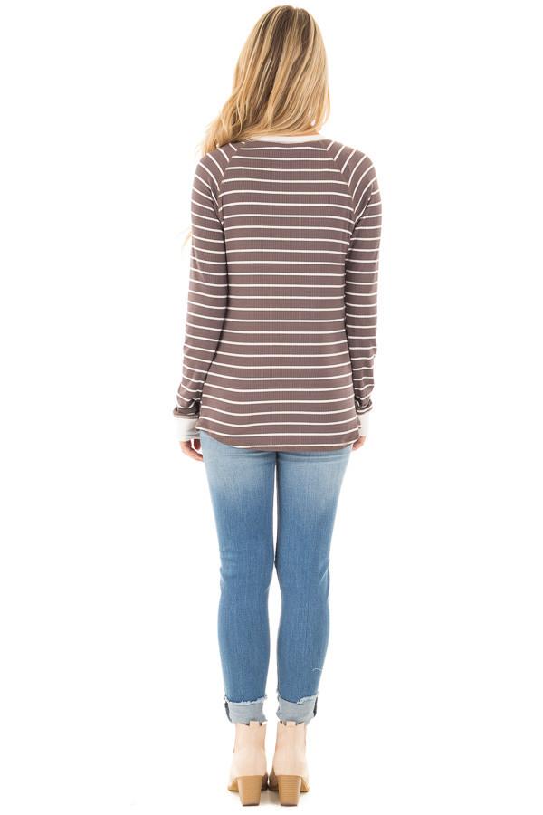 Mocha Striped Top with Cream Contrast and Button Details back full body