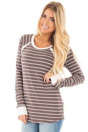 Mocha Striped Top with Cream Contrast and Button Details front close up