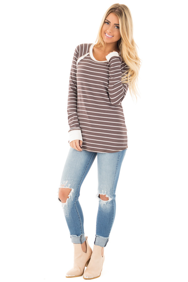 Mocha Striped Top with Cream Contrast and Button Details front full body