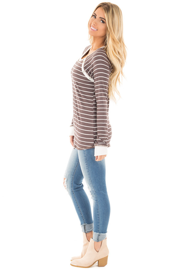 Mocha Striped Top with Cream Contrast and Button Details side full body