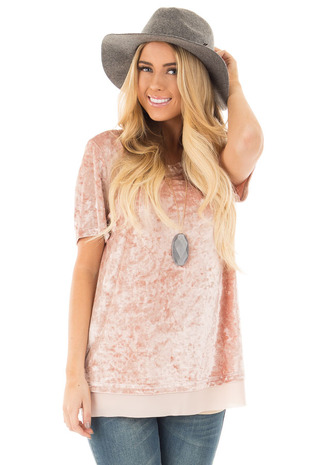 Mauve Crushed Velvet Short Sleeve Top with Chiffon Detail front close up