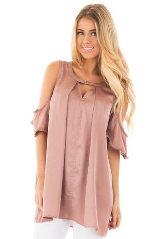 Rose Open Shoulder Top with Keyhole Front front close up