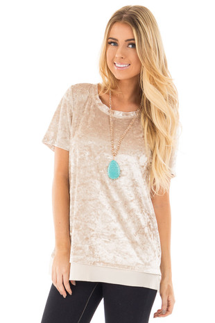 Stone Crushed Velvet Short Sleeve Top with Chiffon Detail front close up