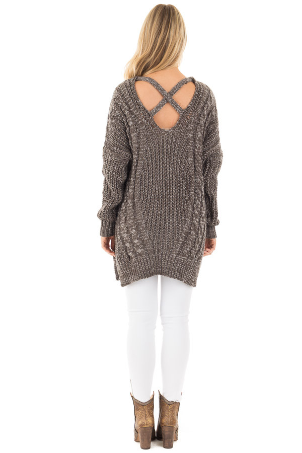 Charcoal Thick Knit Sweater with Criss Cross Back Detail back full body