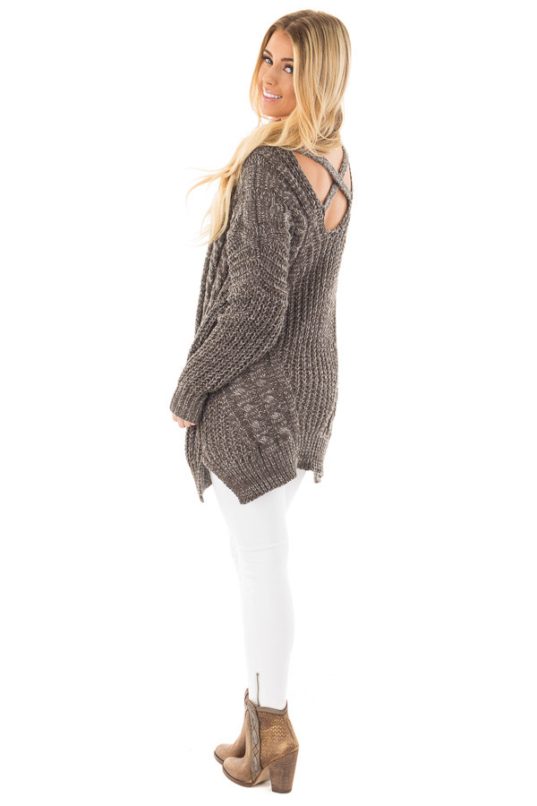 Charcoal Thick Knit Sweater with Criss Cross Back Detail back side full body