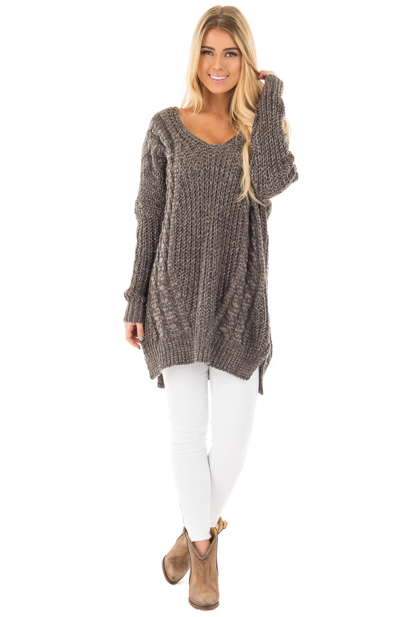 Charcoal Thick Knit Sweater with Criss Cross Back Detail front full body