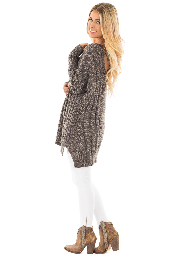 Charcoal Thick Knit Sweater with Criss Cross Back Detail side full body