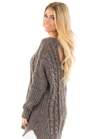 Charcoal Thick Knit Sweater with Criss Cross Back Detail side close up