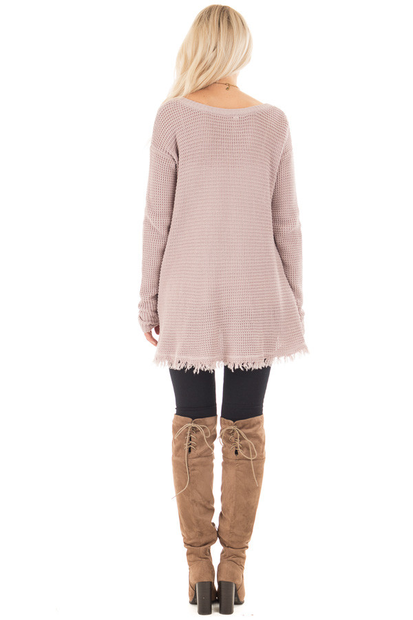 Mauve V Neck Knit Sweater with Raw Edge Trimming back full body