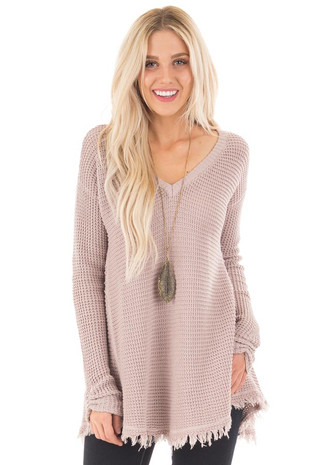 Mauve V Neck Knit Sweater with Raw Edge Trimming front close up