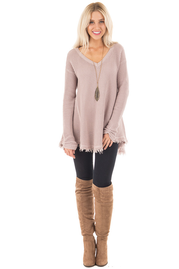 Mauve V Neck Knit Sweater with Raw Edge Trimming front full body