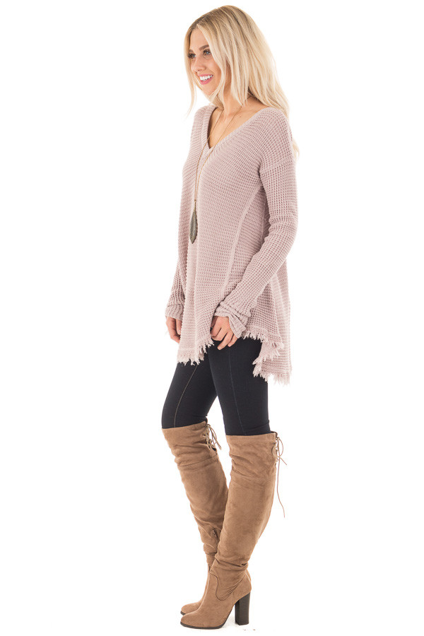 Mauve V Neck Knit Sweater with Raw Edge Trimming side full body