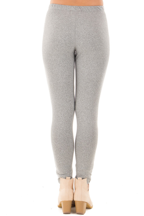 Heather Grey Moto Leggings with Stitching Details back view