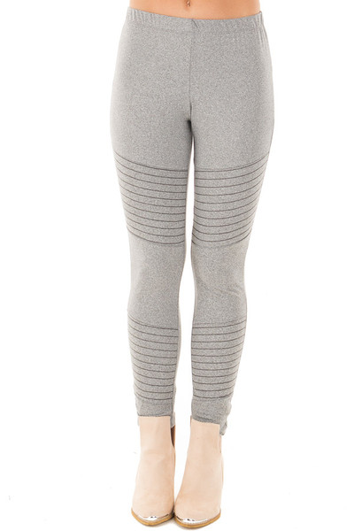 Heather Grey Moto Leggings with Stitching Details front view